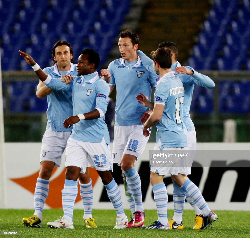 Libor Kozak (C) with his teammates of S.S. Lazio celebrates after scoring the second team's goal during the UEFA Europa League Round of 16 second leg match between S.S. Lazio and VfB Stuttgart at Stadio Olimpico on March 14, 2013 in Rome, Italy.