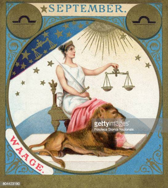 Libra little picture dedicated to September from a series illustrated with zodiac signs and scenes from classical mythology Chromos Germany 1897
