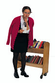 Librarian gesturing for quiet
