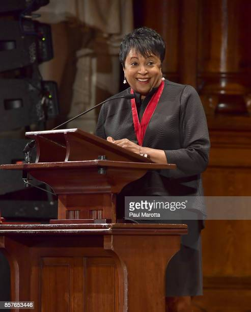Librarian of Congress Carla Hayden was one of eight recipients of the 2017 WEB DuBois Medal at Harvard University's Sanders Theatre on October 4 2017...