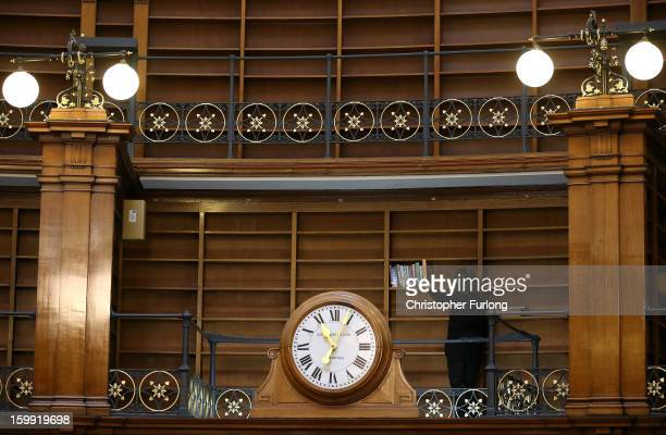 Librarian Ruth Grodner begins the task of restocking books in the restored Picton Reading Room in Liverpool Central Library on January 23 2013 in...