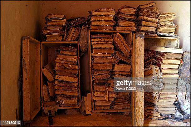 Libraries of the desert rediscovery and restoration of ancient Arab manuscripts in Bouj Beha Mali in April 2003 Old boxes in which Sheikh Baye's...