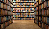 View of a library aisle surrounded by wooden shelves full of books with modern, classic and vintage covers. Hundreds of books create a background for cultural and educational topics. Book spines are b