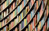 Library bookshelf, shallow DOF