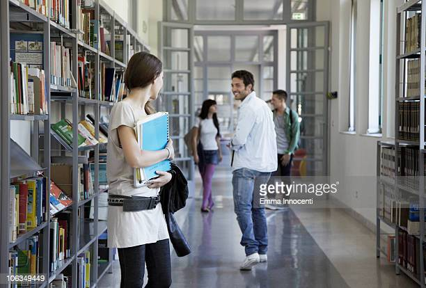 library, corridor, people, flirting