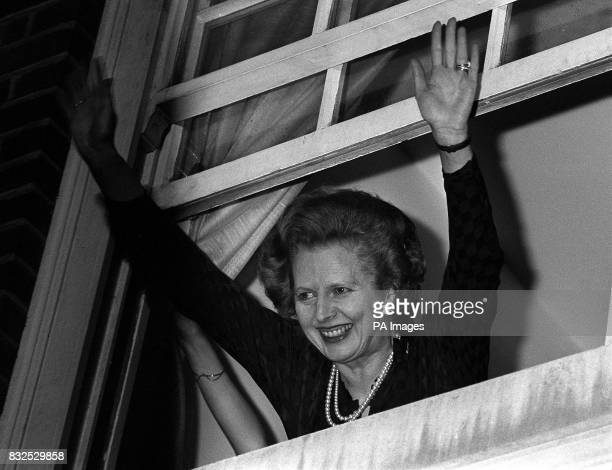 Library file dated 10/6/1983 Prime Minister Margaret Thatcher waves to wellwishers following her election win Unique Reference No 1156193