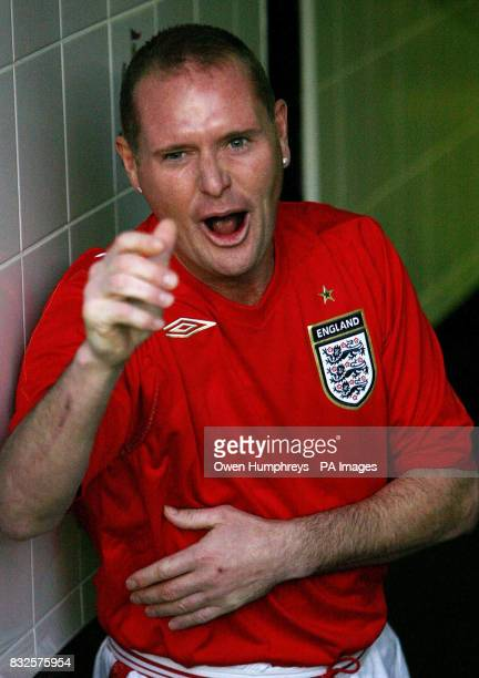 Library file dated Former Newcastle United Tottenham and England footballer Paul Gascoigne during the Alan Shearer Testimonial match between...