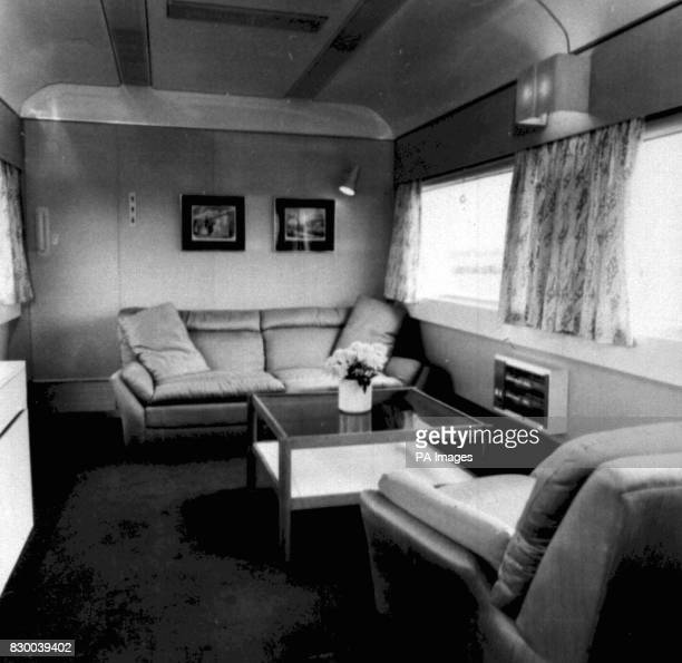 Library file dated 16/5/77 The lounge area of the Royal Train coach prepared for the Queen's Jubilee tour As part of costsaving measures it was...