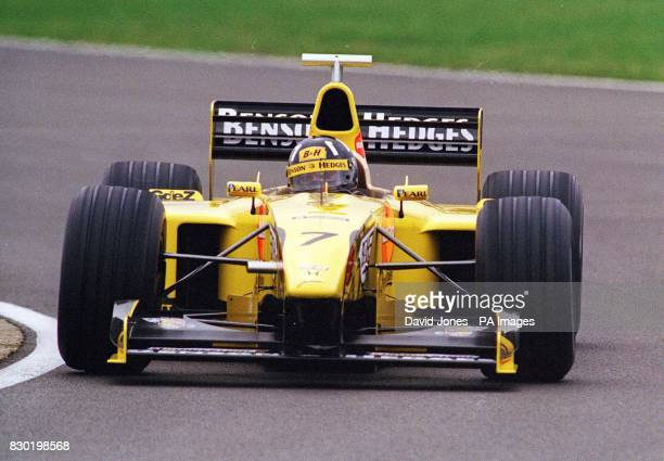 Library file picture dated 3/2/99 of British Formula One driver Damon Hill testing his MugenHonda powered Jordan Formula One car at Silverstone Hill...