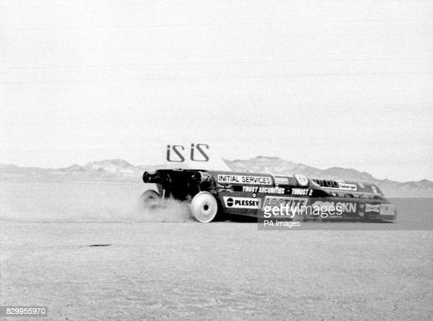 Library filer ref 2030401 dated 41182 of Richard Noble during a test run of his Thrust II in the Black Rock Desert Nevada for the Land Speed Record...