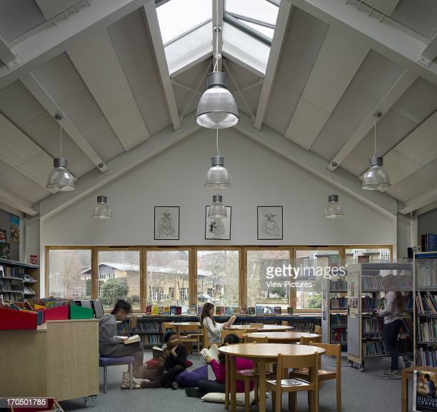 Library interior with view to lower campus King Alfred School The Fives Building London United Kingdom Architect Walters and Cohen Ltd 2012