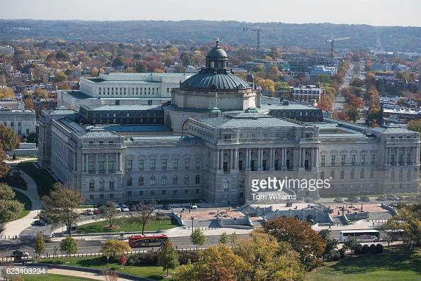 Library of Congress Thomas Jefferson Building is pictured from the observation area at the top of US Capitol Dome November 15 2016 Media was led on a...