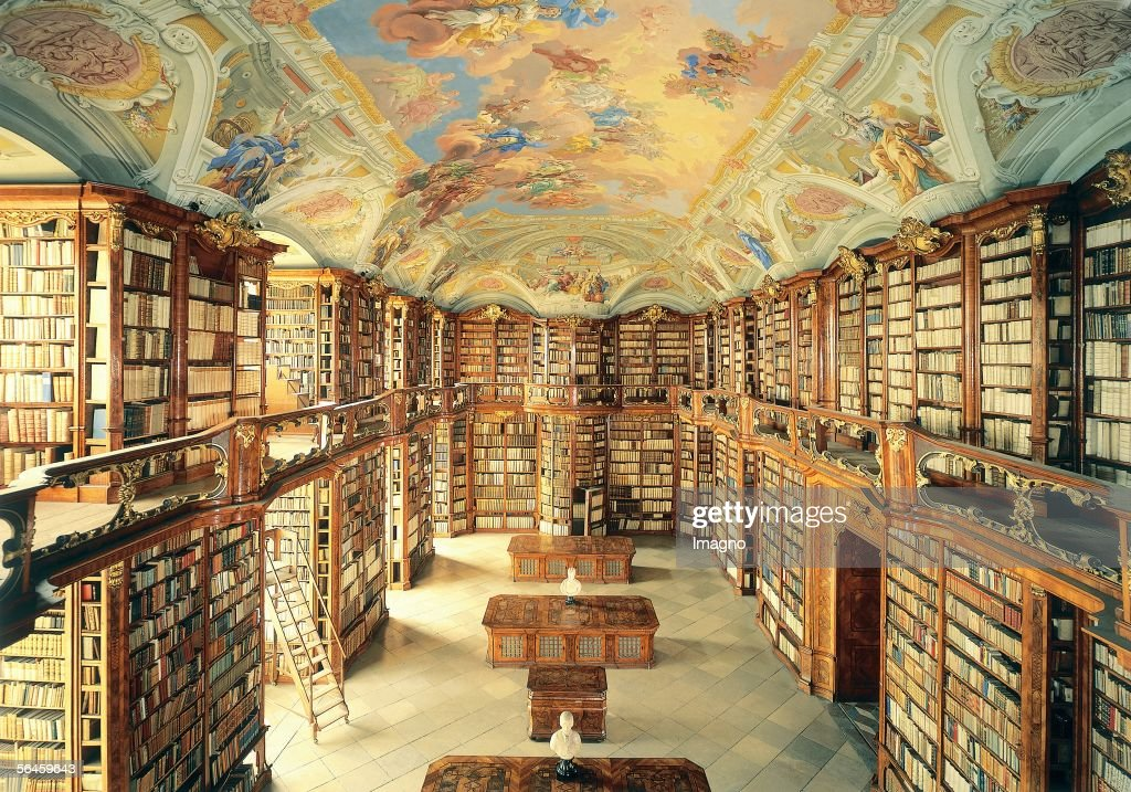 Library of the Augustinian Canon Monastery in St. Florian in Upper Austria, built by Gotthard Hayberger from 1744-1750. Photography by Gerhard Trumler, 1990. (Photo by Imagno/Getty Images) [Bibliothek des Augustiner-Chorherrenstifts in St. Florian in Oberoesterreich, 1744-1750 von Gotthard Hayberger erbaut. Photographie von Gerhard Trumler, 1990.]