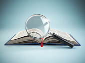 Library search. Loupe and book. Educational concept. 3d illustration