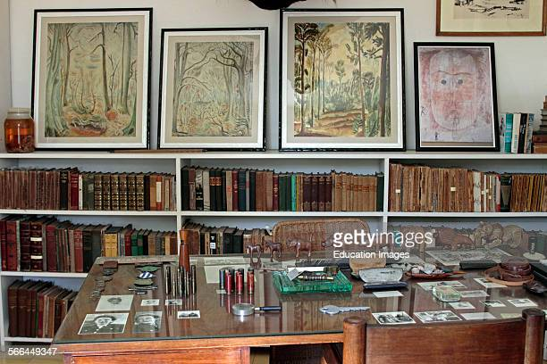 Library study with desk Ernest Hemingway house Finca La Vigia near Havana Cuba