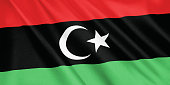 Libya flag waving with the wind, wide format, 3D illustration. 3D rendering.
