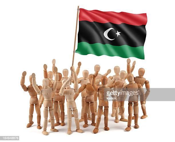 Libye Uni-mannequin en bois groupe avec drapeau