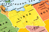 Map of Libya. A detail from the World Map.