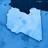3D render and image composing: Topographic Map of the State of Libya Including country borders, rivers and accurate longitude/latitude lines. High quality relief structure!