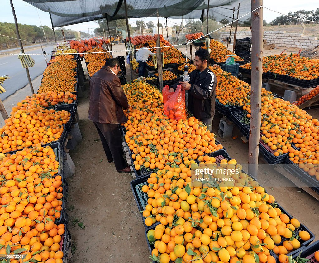 A Libyan customer holds a plastic bag as he waits to choose oranges from a stall set-up on the side of a main road in the Libyan capital Tripoli, on January 2, 2013. The winter months in Libya is when oranges are in season. AFP PHOTO/MAHMUD TURKIA