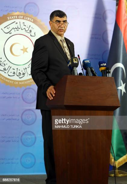 Libyan deputy interior minister Abdelsalam Ashour speaks during a press conference at the prime minister's headquarters in the capital Tripoli on May...