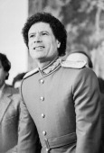 Libyan dictator Muammar alGaddafi at a press conference Hotel Imperial Vienna 1982 Photograph by Nora Schuster Der lybische Diktator Muammar...
