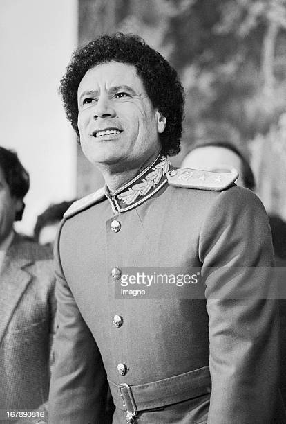Libyan dictator Muammar alGaddafi at a press conference Hotel Imperial Vienna 1982 Photograph by Nora Schuster Der lybische Diktator Muammar...