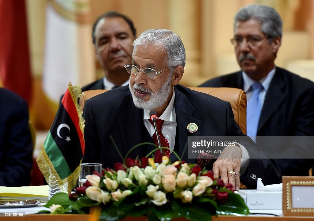 Libyan Foreign Affairs minister Mohamed Taher Siala speaks during the 34th Council of Foreign Ministers from the Arab Maghreb Union (UMA) on May 5, 2016 in Tunis. / AFP / FETHI