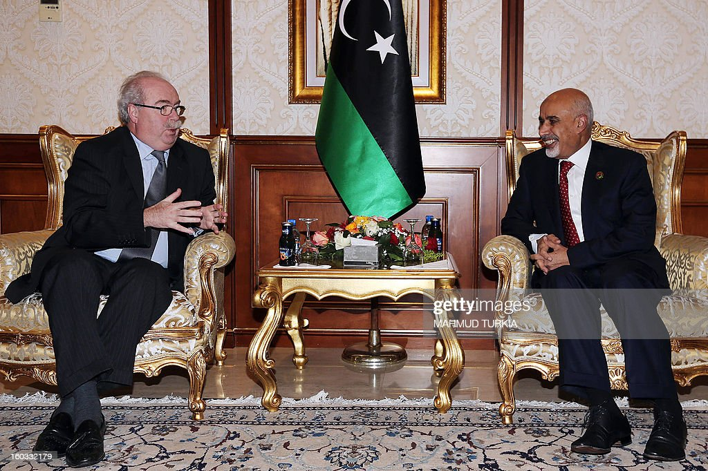 Libyan General National Congress president Mohammed Megaryef (R) meets with French Oil giant Total Chief Executive Officer Christophe de Margerie(R) during their meeting at the Presidential guest house on January 29, 2013 in Tripoli.