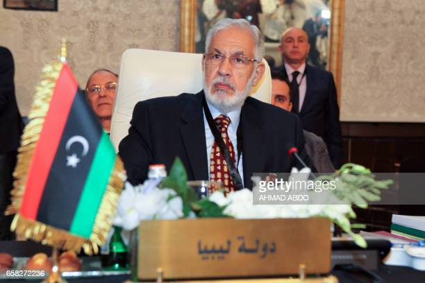 Libyan Government of National Accord's Foreign Minister Mohamed Taha Siala attends the preparatory meeting of Arab Foreign Ministers during the 28th...