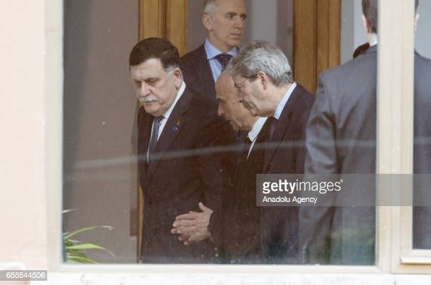 Libyan Government of National Accord's Prime Minister Fayez alSarraj Italy's Interior Minister Marco Minniti and Prime Minister Paolo Gentiloni...