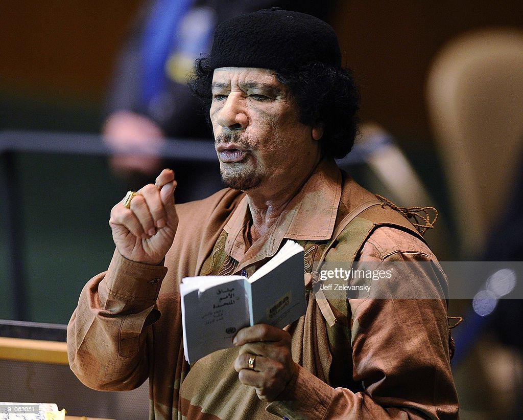 Libyan leader Col. Moammar Gadhafi addresses at the 64th General Assembly at United Nations Headquarters on September 23, 2009 in New York City. Over 120 heads of state will converge in New York for the 64th session of the United Nations' General Assembly over the next seven days.