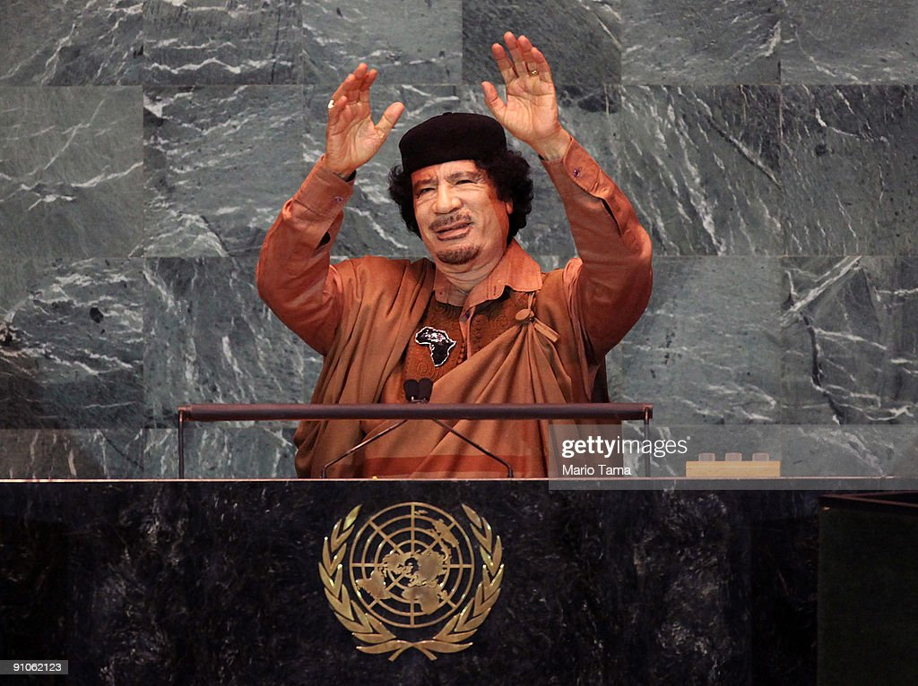 Libyan leader Col. Moammar Gadhafi delivers an address to the United Nations General Assembly at U.N. headquarters September 23, 2009 in New York City. This is the 64th session of the United Nations General Assembly featuring leaders from over 120 countries. Iranian President Mahmoud Ahmadinejad is scheduled to speak later in the day.