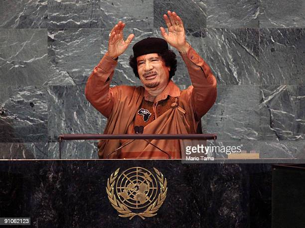Libyan leader Col Moammar Gadhafi delivers an address to the United Nations General Assembly at UN headquarters September 23 2009 in New York City...