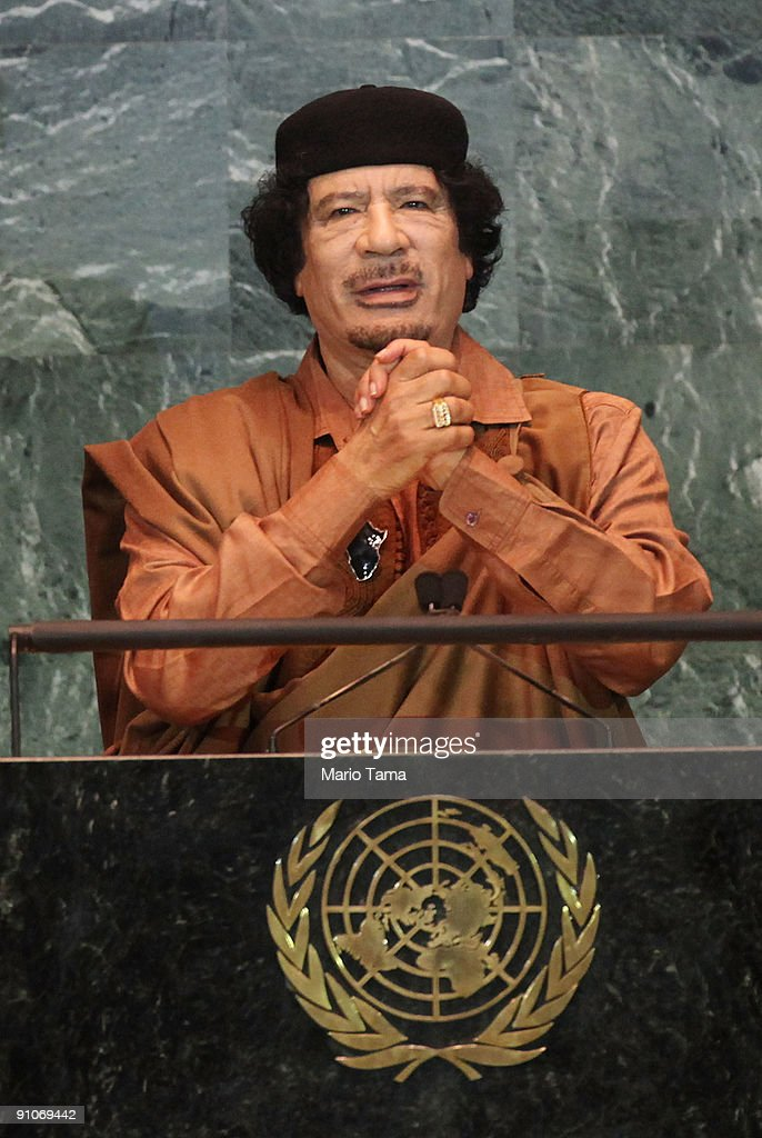 Libyan leader Col. Moammar Gadhafi delivers an address to the United Nations General Assembly at U.N. headquarters September 23, 2009 in New York City. Gadhafi has not visited the U.N. since taking power in 1969. This is the 64th session of the United Nations General Assembly including leaders from over 120 countries.