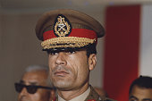Libyan leader Colonel Muammar Gaddafi attends an International Arab Federation meeting in Cairo Egypt in October 1970