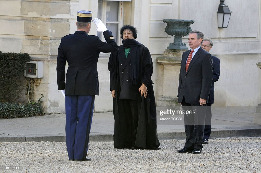 Libyan leader Moammar Gaddafi was to be received by the French president of the National Assembly <a gi-track='captionPersonalityLinkClicked' href=/galleries/search?phrase=Bernard+Accoyer&family=editorial&specificpeople=695096 ng-click='$event.stopPropagation()'>Bernard Accoyer</a> in Paris, France on December 11, 2007 - Libyan leader Moammar Gaddafi was to be received at the French parliament Tuesday on day two of his official visit to France, despite a boycott by opposition lawmakers protesting his human rights record.