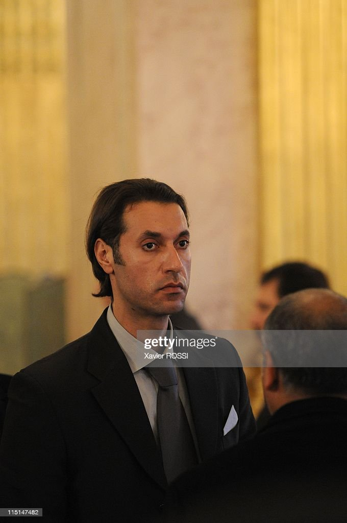 Libyan leader Moammar Gaddafi was to be received by the French president of the National Assembly <a gi-track='captionPersonalityLinkClicked' href=/galleries/search?phrase=Bernard+Accoyer&family=editorial&specificpeople=695096 ng-click='$event.stopPropagation()'>Bernard Accoyer</a> in Paris, France on December 11, 2007 - Libyan leader Moammar Gaddafi was to be received at the French parliament Tuesday on day two of his official visit to France, despite a boycott by opposition lawmakers protesting his human rights record. Mouammar Kadhafi's son.