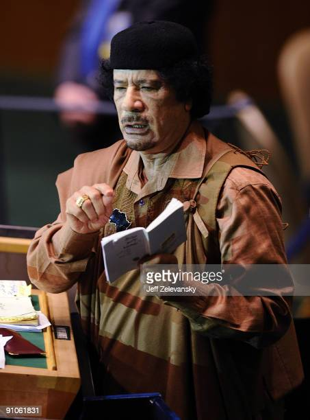 Libyan leader Moammar Gadhafi addresses at the 64th General Assembly at United Nations Headquarters on September 23 2009 in New York City Over 120...