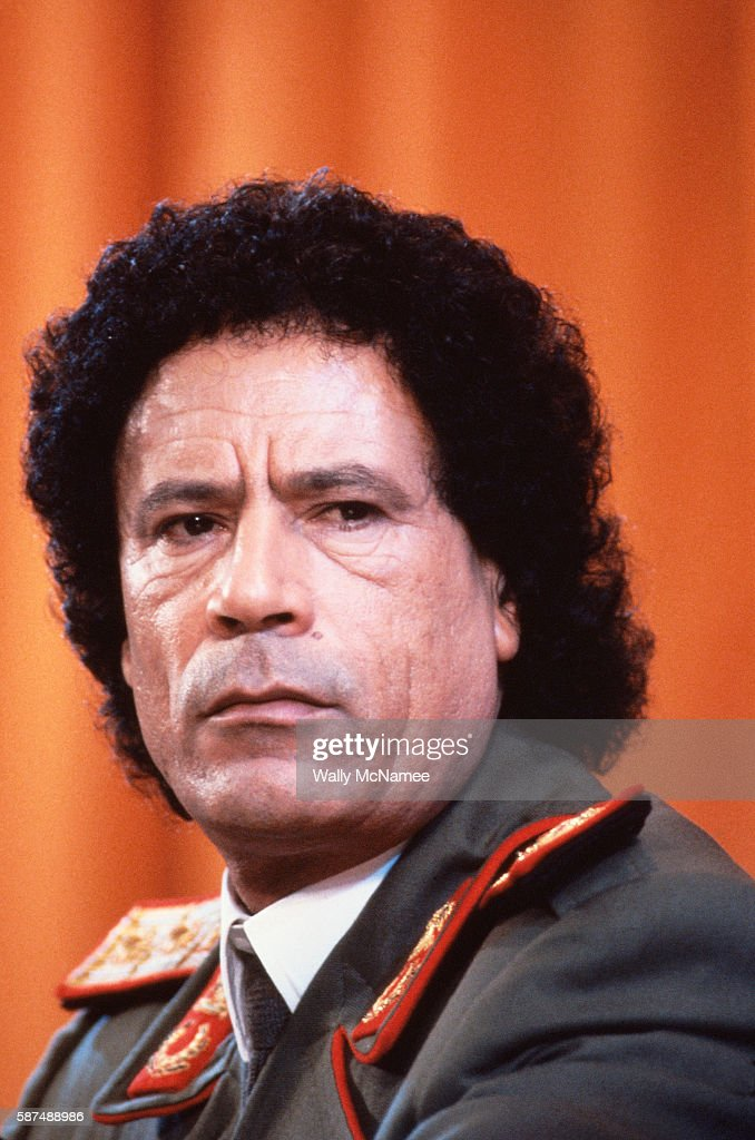 Libyan Leader Muammar alQaddafi appears at a news conference at the Soviet Foreign Ministry in Moscow in 1985