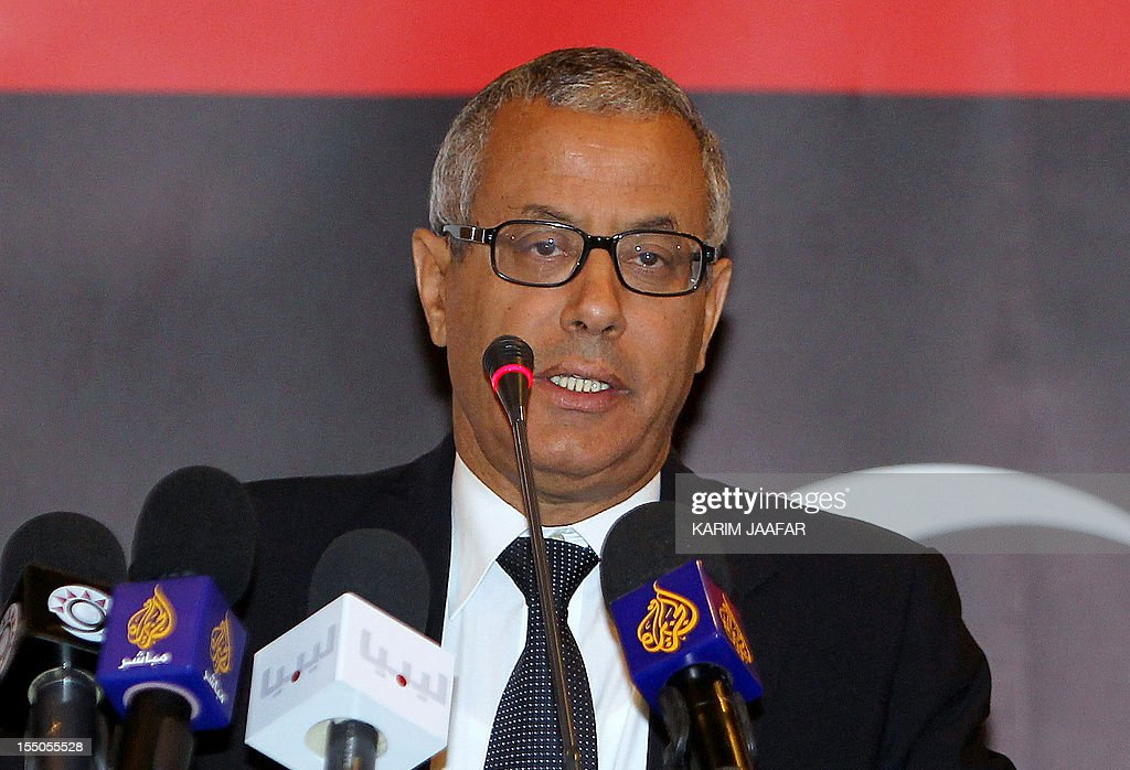 Libyan local council member of the city of Tripoli, <a gi-track='captionPersonalityLinkClicked' href=/galleries/search?phrase=Ali+Zeidan&family=editorial&specificpeople=7544817 ng-click='$event.stopPropagation()'>Ali Zeidan</a>, addresses the Conference of the People's Committees for the Eastern, Western and Central Libya in the Qatari capital Doha on May 11, 2011.