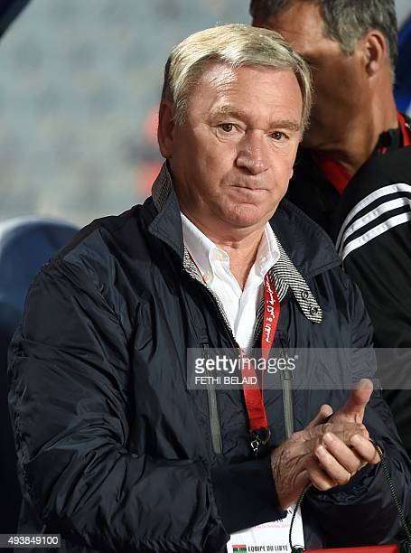 Libyan national soccer team coach Spanish Javier Clemente gestures during the 2016 African Nations Championship qualifying football match between...