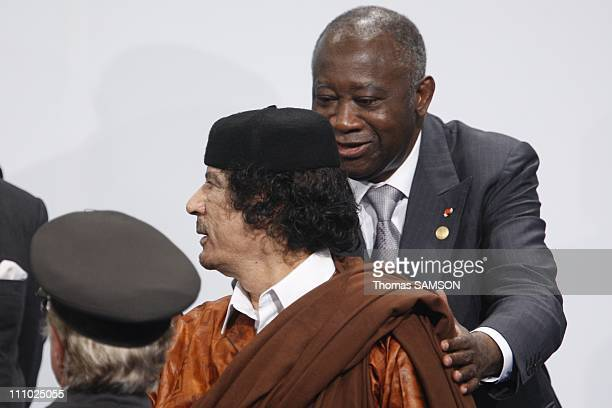 Libyan president Mouammar Kadhafi with Ivory Coast president Laurent Gbagbo in Lisbon Portugal on December 08th 2007