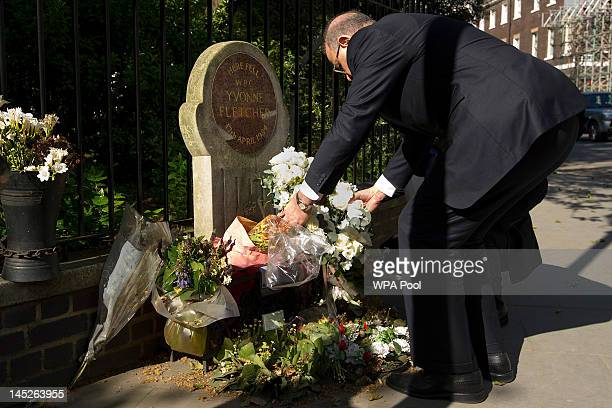 Libyan Prime Minister Abdurrahim ElKeib lays a wreath at the spot where policewoman Yvonne Fletcher was shot dead outside the country's London...