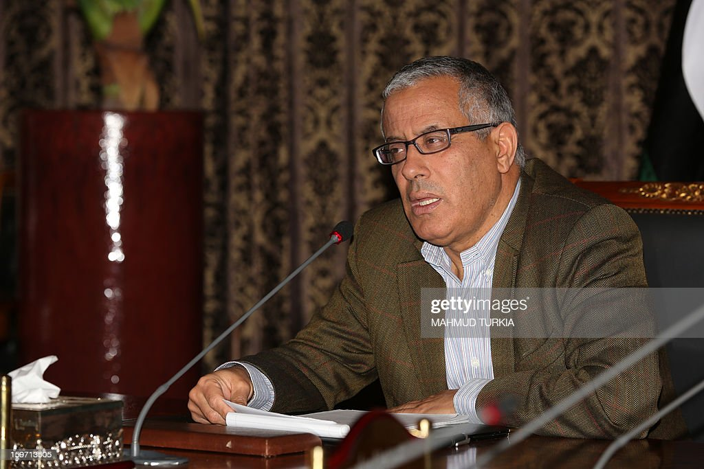 Libyan Prime Minister Ali Zaidan speaks about the repercussions of the situation in Mali, during a press conference in Tripoli on January 19, 2013. The Islamist gunmen who attacked a gas plant in Algeria, killing two people and taking hundreds of hostages before being overpowered by the army, came from Libya, the interior minister said.