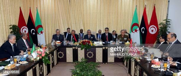 Libyan Prime Minister Ali Zeidan and his counterparts Hamadi Jebali of Tunisia and Abdelmalek Sellal of Algeria hold a threeway summit in the Libyan...
