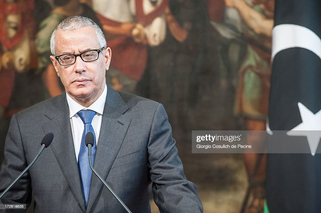 Libyan Prime Minister <a gi-track='captionPersonalityLinkClicked' href=/galleries/search?phrase=Ali+Zeidan&family=editorial&specificpeople=7544817 ng-click='$event.stopPropagation()'>Ali Zeidan</a> attends a press conference after a meeting with Italian Prime Minister Enrico Letta (not in picture), at Palazzo Chigi on July 4, 2013 in Rome, Italy. During the meeting the two prime ministers discussed bilateral relations between Libya and Italy. Italian Prime Minister Enrico Letta also announced a future conference regarding assistance for Libya is to be held soon in Rome.