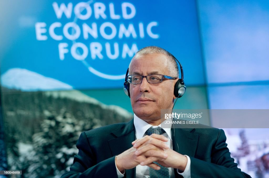 Libyan Prime Minister, Ali Zeidan attends a session of the World Economic Forum Annual Meeting on January 25, 2013 at the Swiss resort of Davos. The World Economic Forum (WEF) will take place from January 23 to 27.