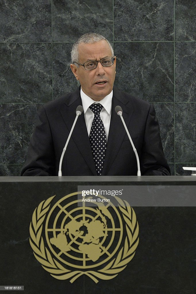 Libyan Prime Minister <a gi-track='captionPersonalityLinkClicked' href=/galleries/search?phrase=Ali+Zeidan&family=editorial&specificpeople=7544817 ng-click='$event.stopPropagation()'>Ali Zeidan</a> speaks at the 68th United Nations General Assembly on September 25, 2013 in New York City. Over 120 prime ministers, presidents and monarchs are gathering this week for the annual meeting at the temporary General Assembly Hall at the U.N. headquarters while the General Assembly Building is closed for renovations.