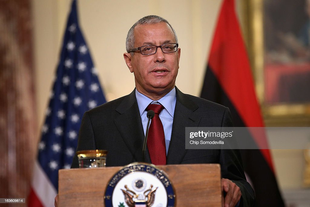 Libyan Prime Minister Ali Zeidan speaks during a news conference in between bilateral meetings with U.S. Secretary of State John Kerry in the Ben Franklin Room at the State Department on March 13, 2013 in Washington, DC. The two leaders took time in between meetings to make statements to the news media.